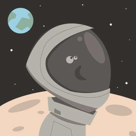 Man on the moon.Cartoon style.Vector illustration. Imagens - 102939031