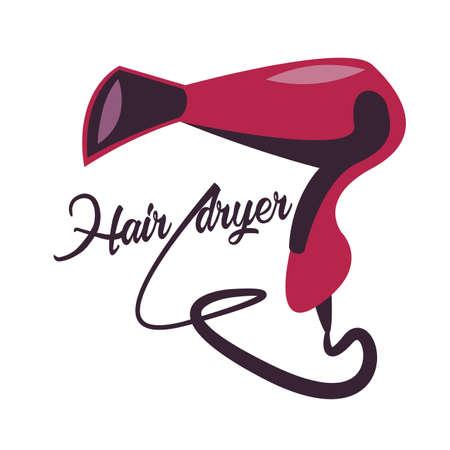 Hair dryer.Cartoon style.Vector illustration. Ilustração