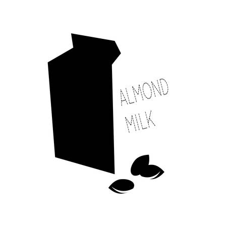 Vector illustration with almond milk.Black and white. Imagens - 105081040