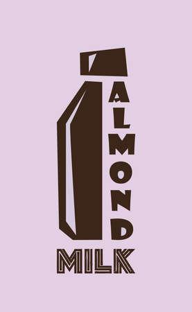 Almond milk.Logo vector illustration. Ilustração
