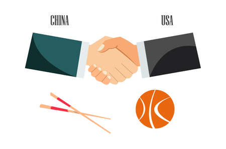 Representatives of the US and China shake hands.Vector illustration. Imagens - 105080259
