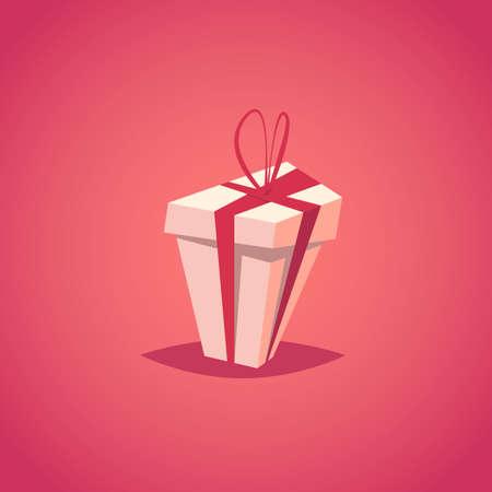 Gift box.Present box vector illustration.Cartoon style. Ilustração