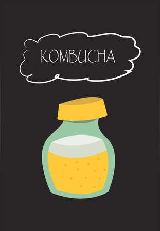 Kombucha.Vector illustration.Cartoon style.