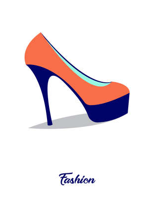 Fashion.Vector illustration with inscription, lacquered shoes on high heels Imagens - 104979756