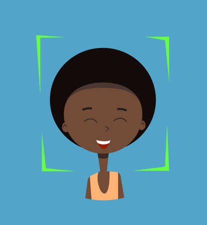 Facial recognition.Vector illustration.Cartoon boy. Ilustrace