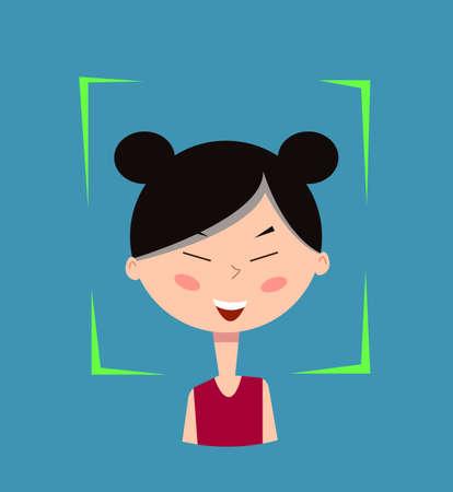 Facial recognition.Vector illustration.Cartoon girl. Imagens - 104936040