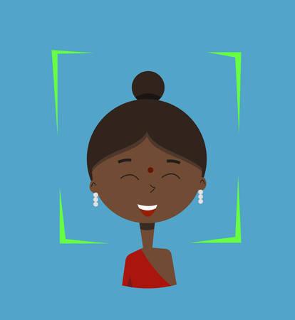 Facial recognition.Vector illustration.Cartoon girl.