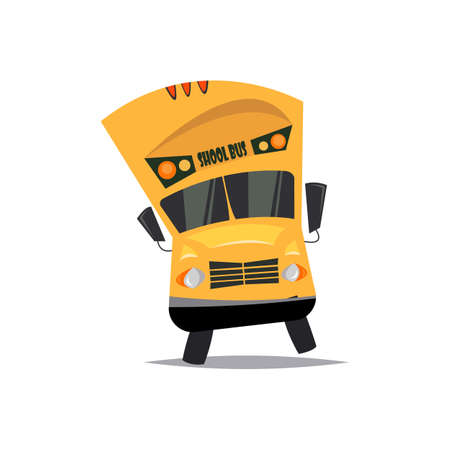 Cartoon bus.Vector illustration.Back to school.