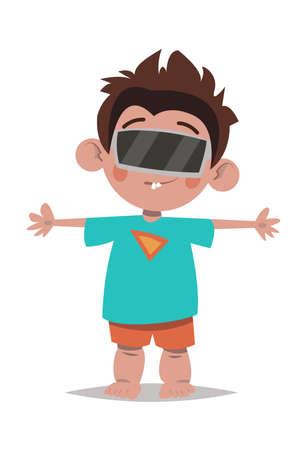 Augmented reality.Little boy.Cartoon style.Vector illustration. Ilustração