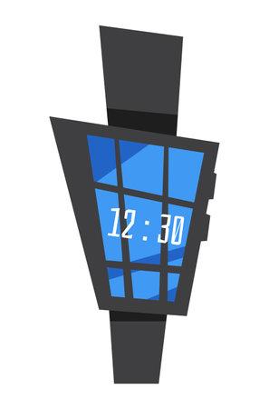 Solar-powered electronic clock. Flat vector illustration.