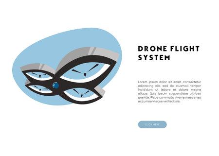 Drone flight system banner. Flat vector illustration.