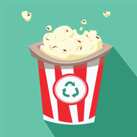 Popcorn in a bucket made from recycled materials. Flat vector illustration.