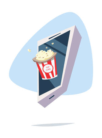A bucket of popcorn in phone. Film industry entertainment concept flat vector illustration.