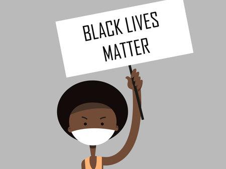 Black Lives Matter. Black boy who holds a protest plate.