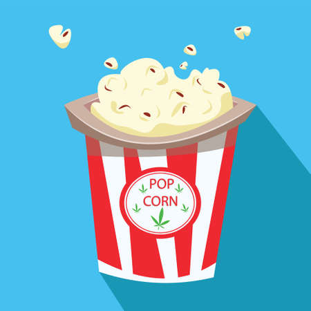 A bucket of popcorn and its shadow. Flat vector illustration. Cartoon vector illustration.