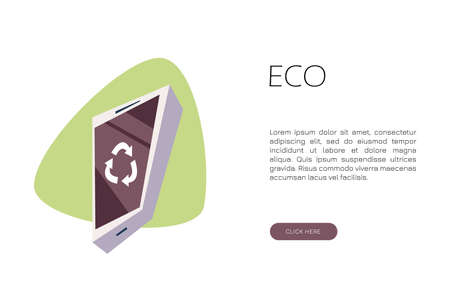 Telephone with a recycling sign. Flat vector illustration. Eco concept.