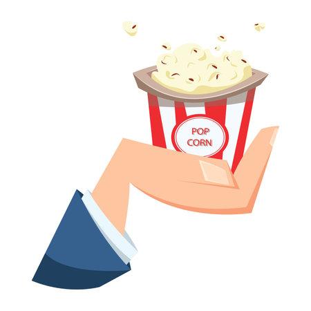 Hand holding bucket of popcorn. Flat vector illustration. Carton vector illustration.