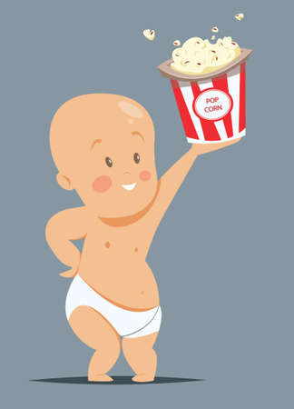 A baby in a diaper holding a bucket of popcorn.