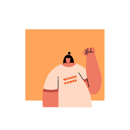 Female revolution, strike, protest. Woman Hands with clenched fists, isolated on white background. Flat vector stock illustration