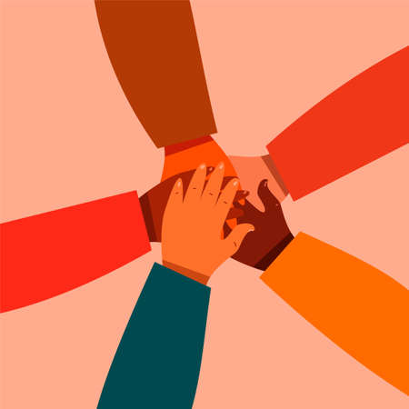 Close-up top view of young people folding their arms, standing in a circle. A stack of hands. Unity and teamwork concept. Interlacing of hands. Ilustração