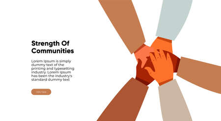 Close-up top view of young people folding their arms, standing in a circle. A stack of hands. Unity and teamwork concept. Interlacing of hands banner.