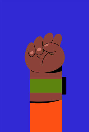 Hand symbol for black lives matter protest in USA to stop violence to black people. Fight for human right of Black People in U.S. America. Flat style vector. Ilustração
