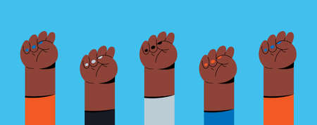 Feminist fists, protest and revolution, feminist fight, vector cartoon flat hands. Feminist activists are a symbol of strength, the union of womens rights, womens strength and solidarity. Ilustração
