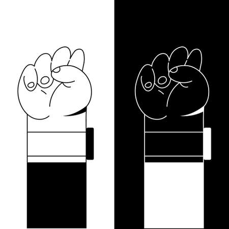 Hand symbol for black lives matter protest in USA to stop violence to black people. Fight for human right of Black People in U.S. America. Flat style vector. Black and white style. Ilustração