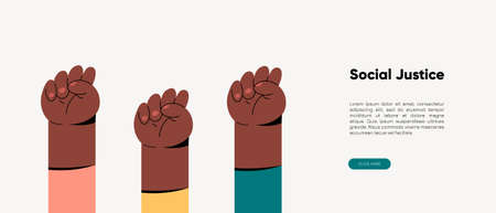 Feminist fists, protest and revolution, feminist fight, vector cartoon flat hands. Strength of communities equality and rebellion, the union of womens rights, womens strength and solidarity.