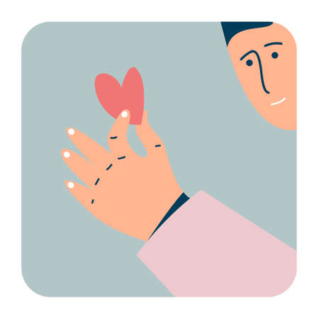 The guy who holds the heart in his hand. The concept of congratulations for Valentines Day. Unrequited love. Feelings for the opposite sex. Ilustração