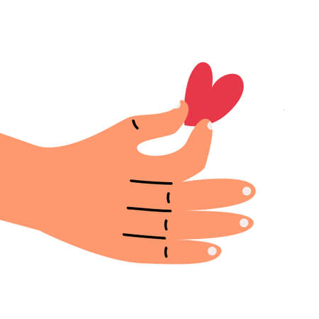 Heart that is in the hand of a person. Concept of congratulations for Valentines Day. Unrequited love.