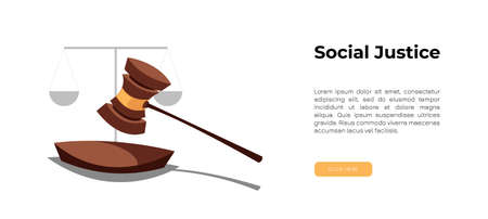 World social justice day simple vector background. scales, judicial hammer. Social justice banner. Flat vector illustration. Ilustração