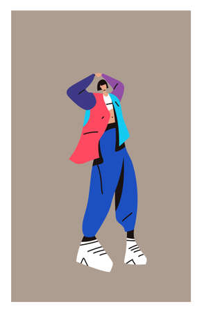 Young woman in stylish clothes. Fashion clothes concept on white background. Fashionable illustration in a minimalist style. Ilustração