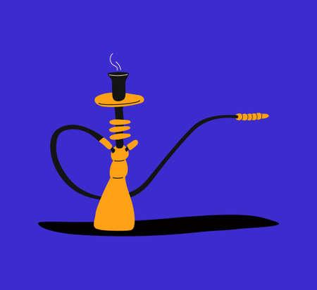 Hookah bar. Hookah smoking concept. Hookah in trendy colors and trendy flat style. Tar for smoking. Shisha in cartoon style.