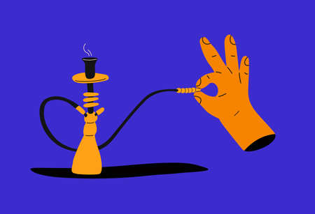 Hookah bar. Hookah smoking concept. Hookah in trendy colors and trendy flat style with a hand holding a mouthpiece. Tar for smoking. Shisha in cartoon style.