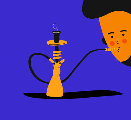 Hookah bar. Hookah smoking concept. Hookah in trendy colors and trendy flat style with a man who smokes it. Tar for smoking. Shisha in cartoon style.