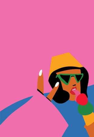 Stylish graceful young lady. Hand drawn vector trendy. Elegant art. Draw out the parts of the body. Beautiful face with glasses. The girl is eating ice cream. Ilustração