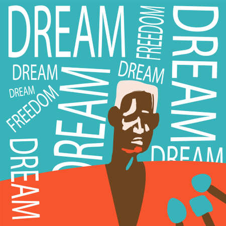 American-style civil rights movement. Black lives matter. Human rights. African American history. Racial equality. Poster in trendy colors.