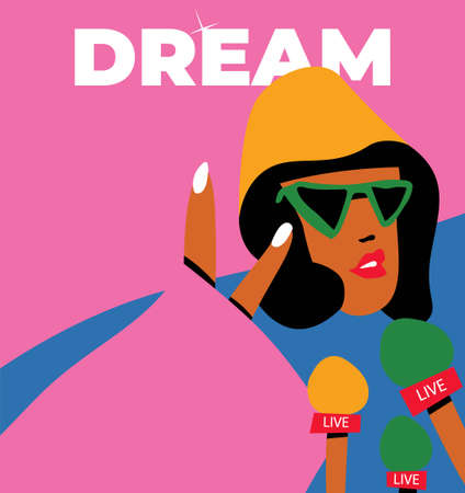 Beautiful american portrait of black african american celebrity for lifestyle design. Young african american. Beautiful black women. Black empowerment.