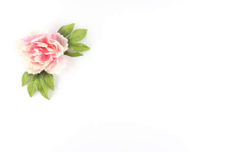 Single Pink Peony Flower on a White Styled Desktop  - Silk Artificial Flowers - Crafts Banco de Imagens - 42144989