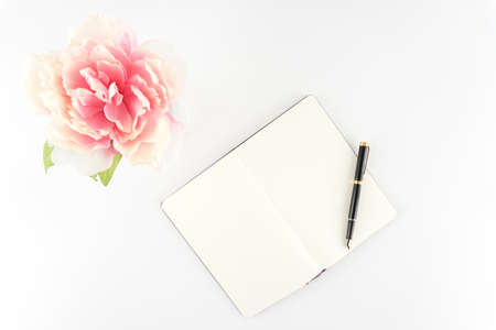 Pink Peony Flower White Desktop Sketchbook Notebook Journal Fountain Pen  - Silk Artificial Flowers - Crafts