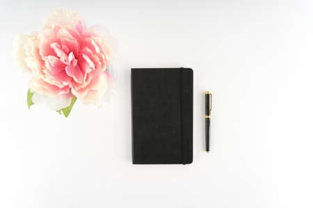 Pink Peony Flower White Desktop Black Notebook Journal Fountain Pen  - Silk Artificial Flowers - Crafts