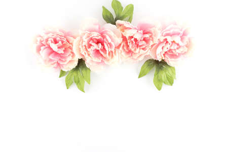 Row of Pink Peony Flowers on a White Styled Desktop  - Silk Artificial Flowers - Crafts