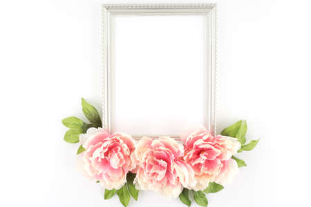 stock photography: Pink Peony Flowers Silver Frame  - Silk Artificial Flowers - Crafts