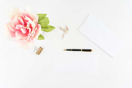 Pink Peony White Styled Desktop Envelopes Fountain Pen Gold Paper Clips  - Silk Artificial Flowers - Crafts