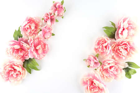 Pink Peony Flowers Diagonal White Styled Desktop - Silk Artificial Flowers - Crafts