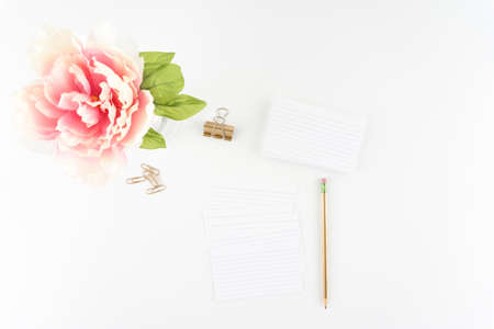 Pink Peony White Styled Desktop Index Cards Gold Pencil Clip  - Silk Artificial Flowers - Crafts
