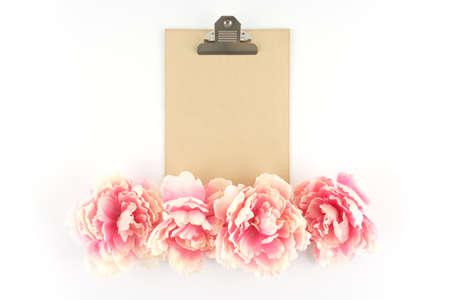 Brown Kraft Paper Clipboard w Row of Pink Peony Flowers  - Silk Artificial Flowers - Crafts