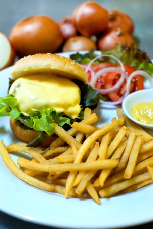 Cheeseburger and french fries photo