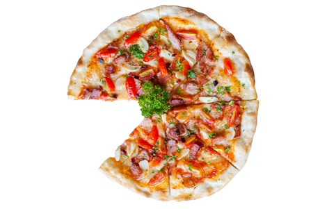 Pizza with bacon, garlic and dried chilli on white background